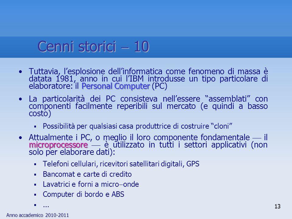 Anno accademico 2010-2011 13 Personal ComputerTuttavia, lesplosione dellinformatica come fenomeno di massa è datata 1981, anno in cui lIBM introdusse