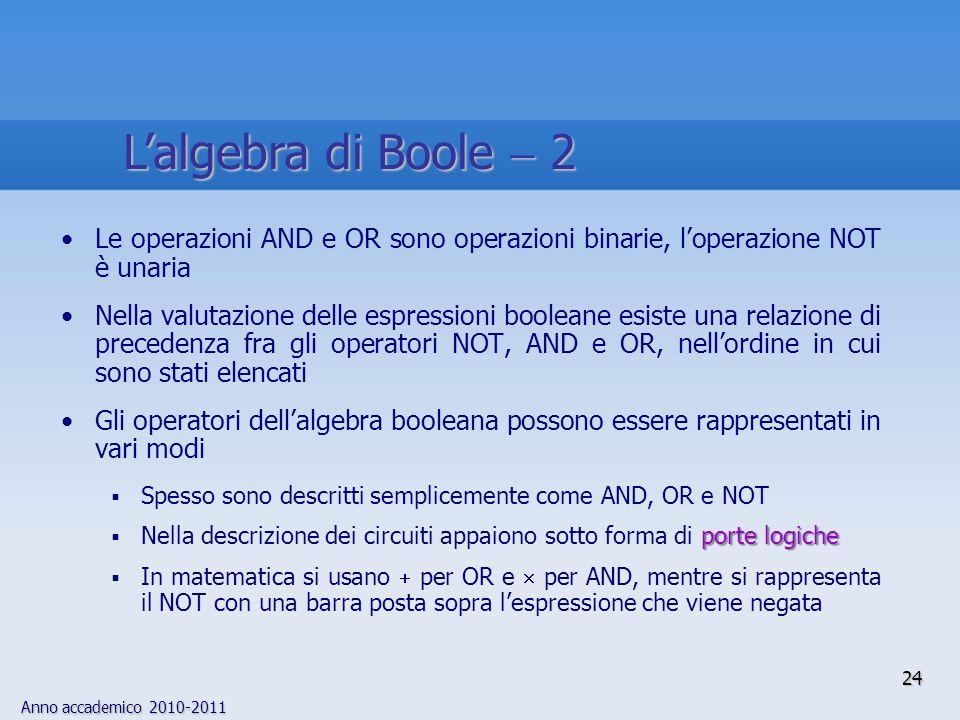 Anno accademico 2010-2011 24 Le operazioni AND e OR sono operazioni binarie, loperazione NOT è unaria Nella valutazione delle espressioni booleane esi