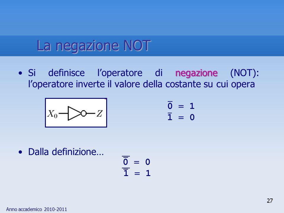 Anno accademico 2010-2011 27 negazioneSi definisce loperatore di negazione (NOT): loperatore inverte il valore della costante su cui opera Dalla defin