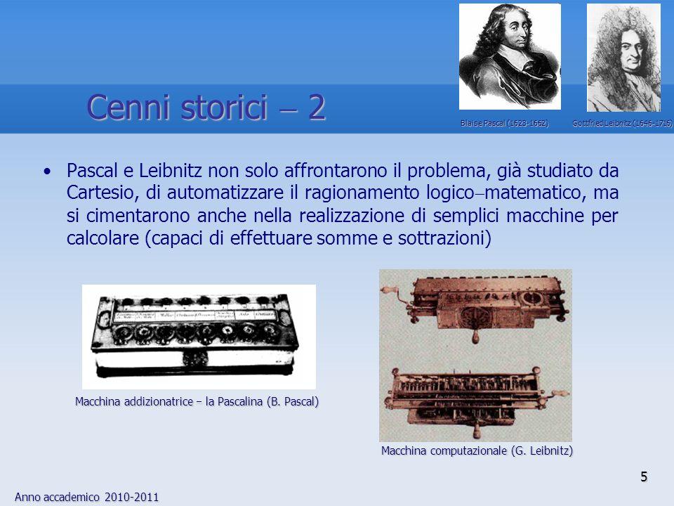 Anno accademico 2010-2011 5 Pascal e Leibnitz non solo affrontarono il problema, già studiato da Cartesio, di automatizzare il ragionamento logico mat