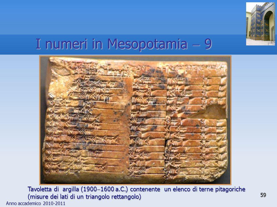 Anno accademico 2010-2011 59 I numeri in Mesopotamia 9 Tavoletta di argilla (1900 1600 a.C.) contenente un elenco di terne pitagoriche (misure dei lat