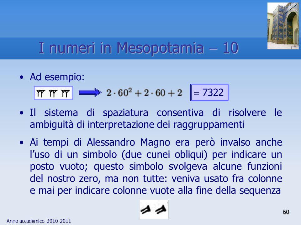 Anno accademico 2010-2011 60 Ad esempio: Il sistema di spaziatura consentiva di risolvere le ambiguità di interpretazione dei raggruppamenti Ai tempi