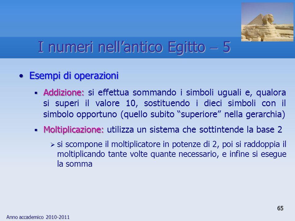 Anno accademico 2010-2011 65 Esempi di operazioniEsempi di operazioni Addizione: Addizione: si effettua sommando i simboli uguali e, qualora si superi