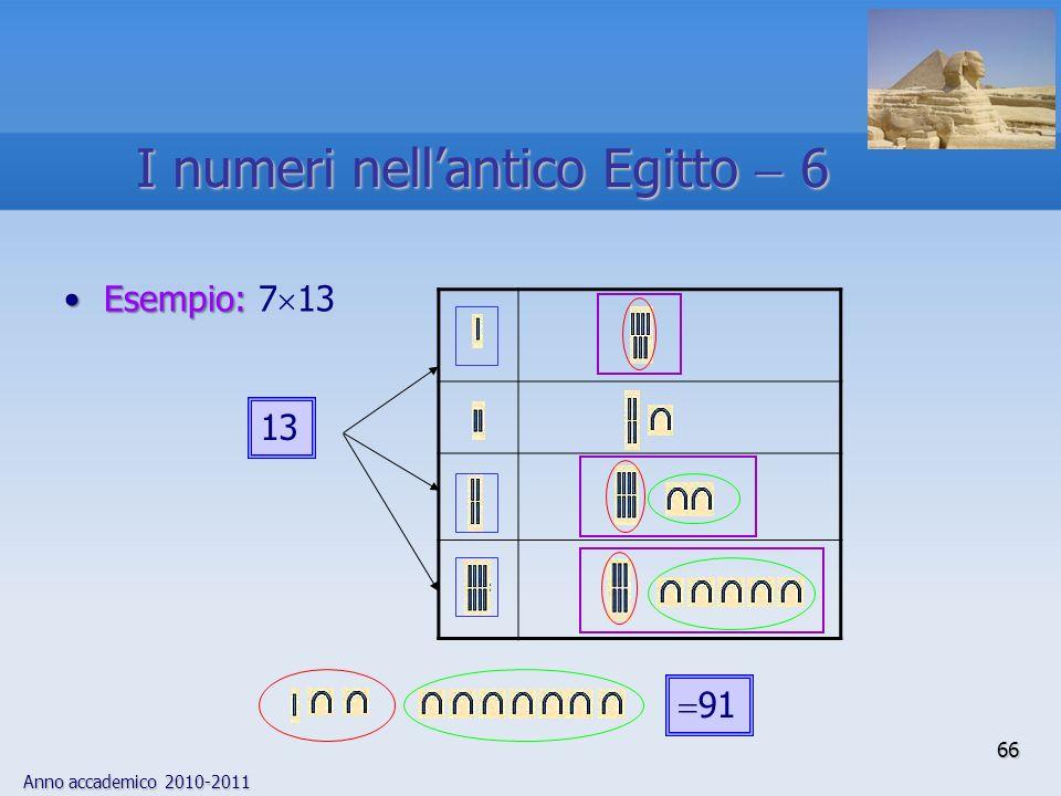 Anno accademico 2010-2011 66 Esempio:Esempio: 7 13 13 91 I numeri nellantico Egitto 6
