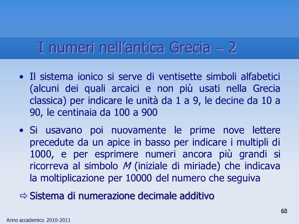 Anno accademico 2010-2011 68 Il sistema ionico si serve di ventisette simboli alfabetici (alcuni dei quali arcaici e non più usati nella Grecia classi