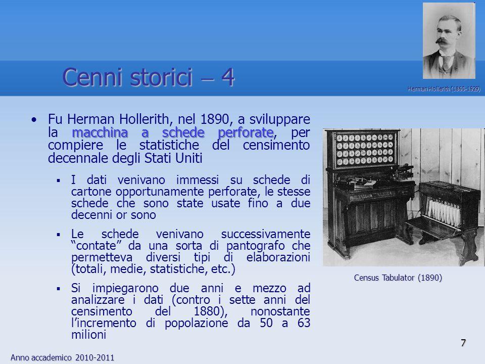 Anno accademico 2010-2011 7 macchina a schede perforateFu Herman Hollerith, nel 1890, a sviluppare la macchina a schede perforate, per compiere le sta