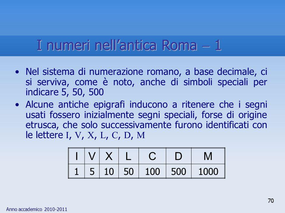 Anno accademico 2010-2011 70 Nel sistema di numerazione romano, a base decimale, ci si serviva, come è noto, anche di simboli speciali per indicare 5,