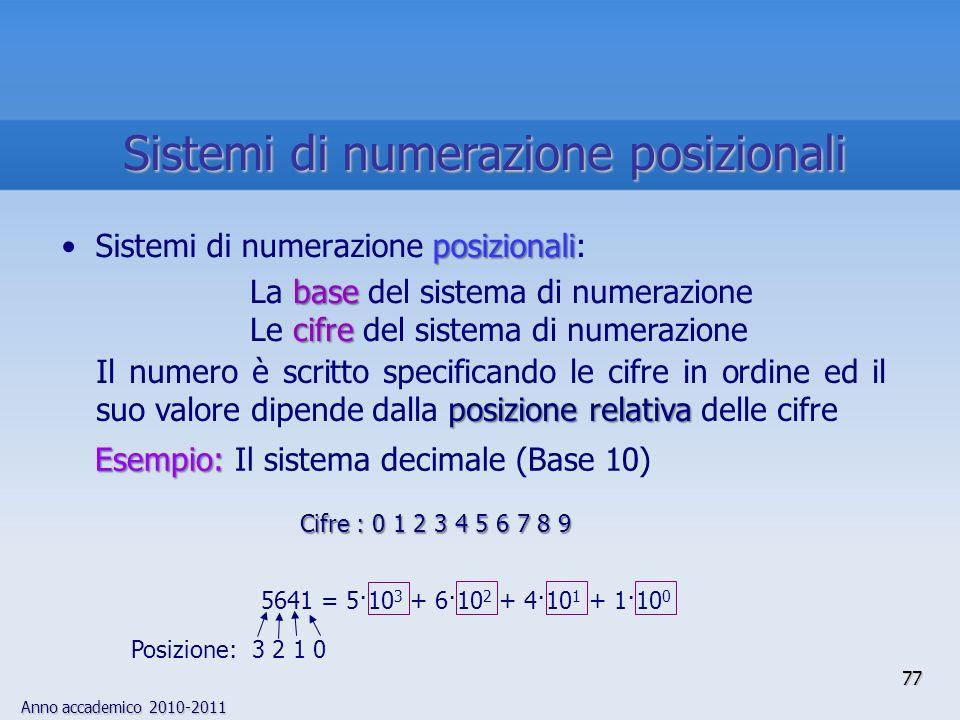 Anno accademico 2010-2011 77 posizionaliSistemi di numerazione posizionali: base La base del sistema di numerazione cifre Le cifre del sistema di nume