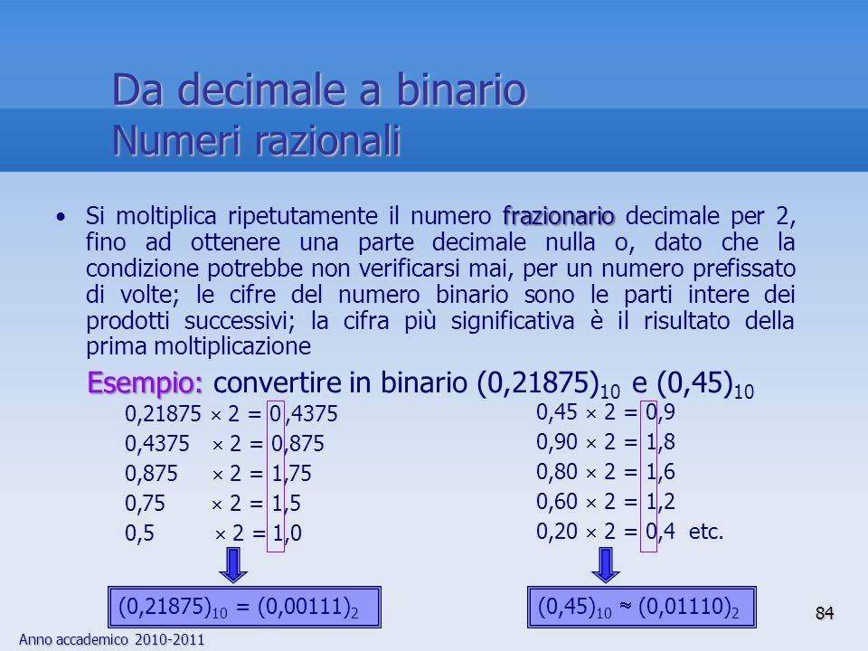 Anno accademico 2010-2011 84 frazionarioSi moltiplica ripetutamente il numero frazionario decimale per 2, fino ad ottenere una parte decimale nulla o,