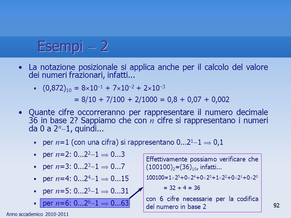 Anno accademico 2010-2011 92 Effettivamente possiamo verificare che (100100) 2 =(36) 10, infatti... 100100=1 2 5 +0 2 4 +0 2 3 +1 2 2 +0 2 1 +0 2 0 =