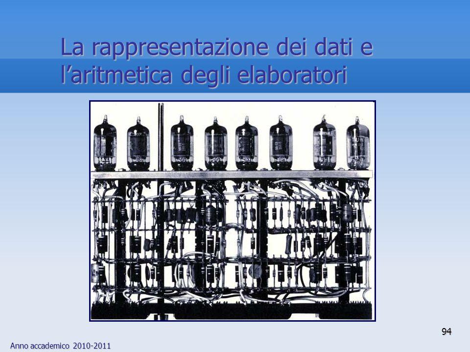 Anno accademico 2010-2011 94 La rappresentazione dei dati e laritmetica degli elaboratori