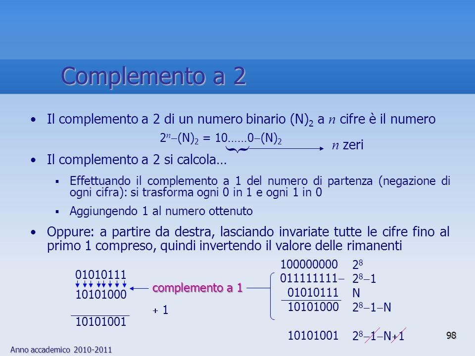 Anno accademico 2010-2011 98 Complemento a 2 Il complemento a 2 di un numero binario (N) 2 a n cifre è il numero Il complemento a 2 si calcola… Effett