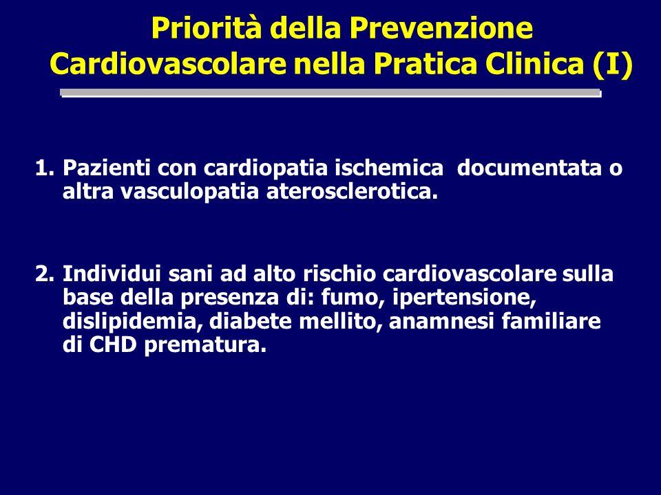 Priorità della Prevenzione Cardiovascolare nella Pratica Clinica (I) 1.Pazienti con cardiopatia ischemica documentata o altra vasculopatia aterosclero