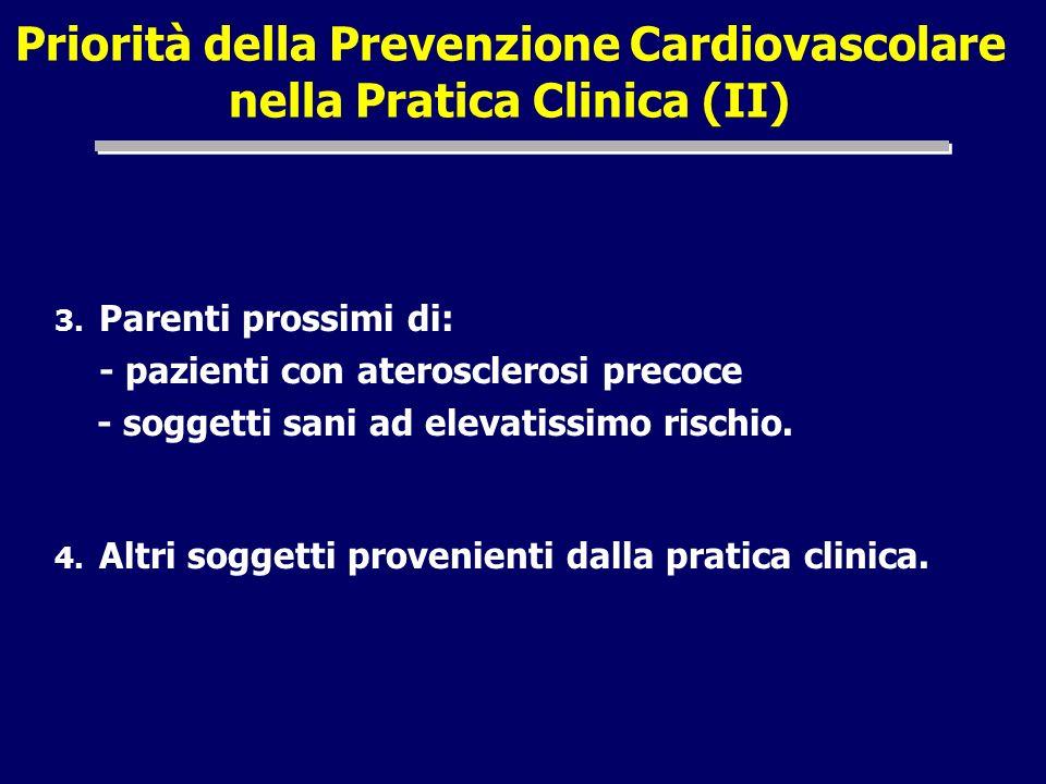 Priorità della Prevenzione Cardiovascolare nella Pratica Clinica (II) 3. Parenti prossimi di: - pazienti con aterosclerosi precoce - soggetti sani ad