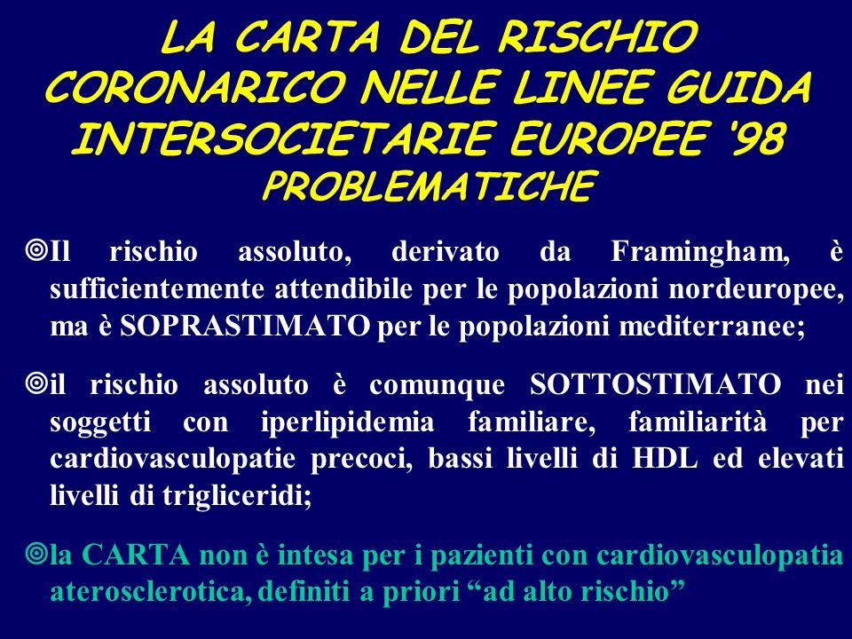 LA CARTA DEL RISCHIO CORONARICO NELLE LINEE GUIDA INTERSOCIETARIE EUROPEE 98 PROBLEMATICHE ¥Il rischio assoluto, derivato da Framingham, è sufficiente