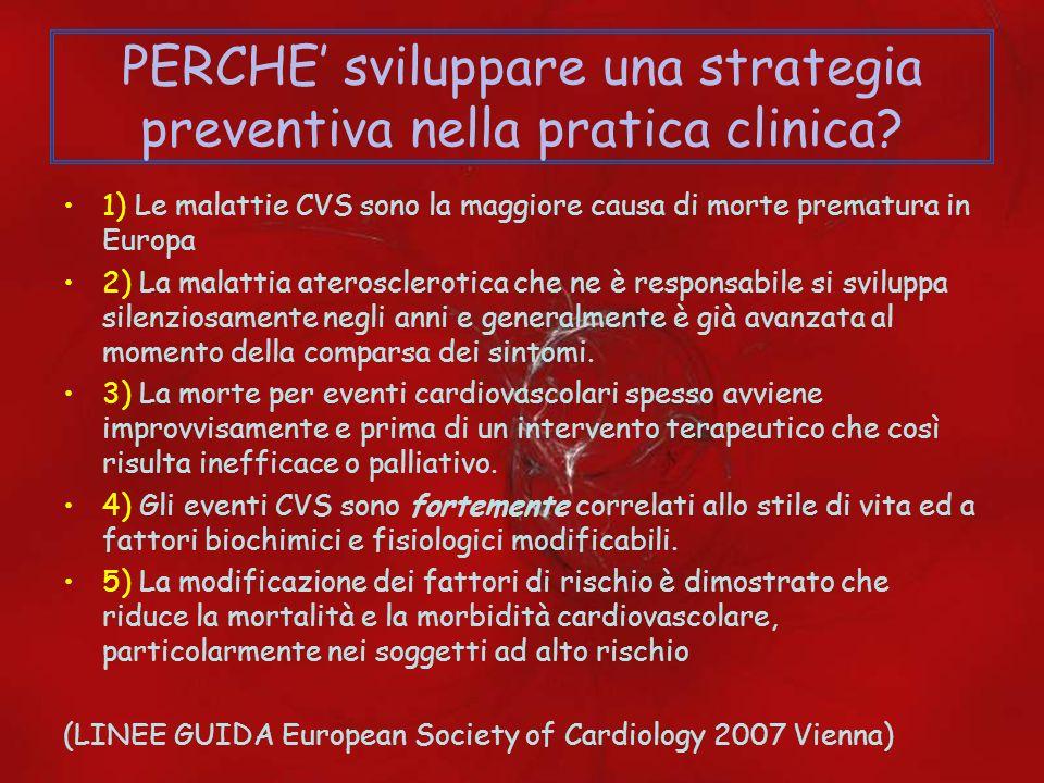 PERCHE sviluppare una strategia preventiva nella pratica clinica? 1) Le malattie CVS sono la maggiore causa di morte prematura in Europa 2) La malatti