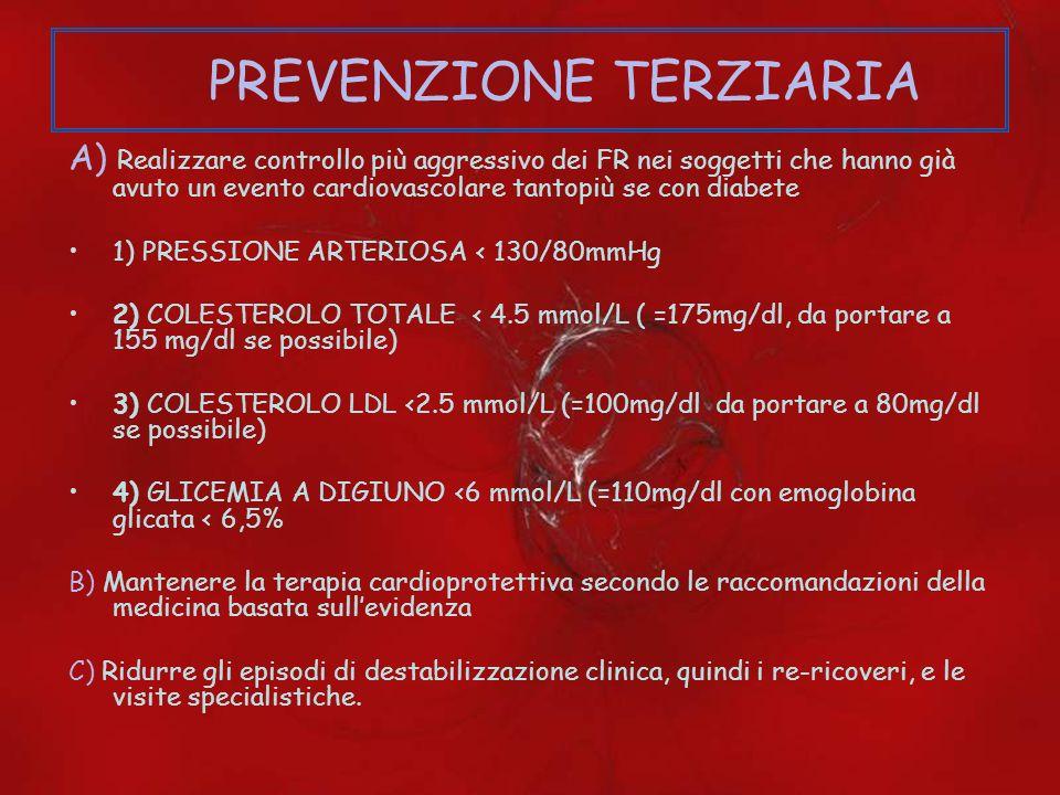 PREVENZIONE TERZIARIA A) Realizzare controllo più aggressivo dei FR nei soggetti che hanno già avuto un evento cardiovascolare tantopiù se con diabete