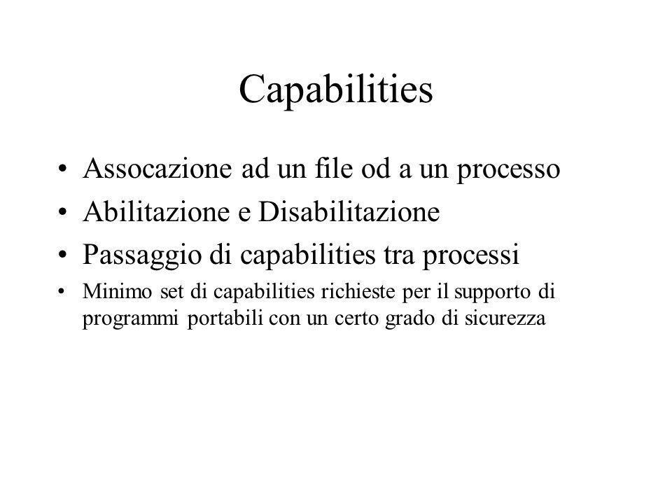 PRINCIPALI SCOPI 1.Provvedere ad un mezzo portabile 2.Supporto dellimplementazione del minimo privilegio delle politiche di sicurezza 1.Definire una terminologia comune per indirizzare gli argomenti della capability 2.Definire le semantiche di come le capabilities associate ai processi possono essere acquistate dal processo stesso e alterate 3.Definire le funzioni di sitema e utilities necessarie ad utilizzare le capabilities 4.Cercare di conservare una certa compatibilità con i programmi che dipendono da un solo user o da un group user 5.Aggiornamento con future implementazioni 6.Specifica di uno standard per le capabilities 7.Supporto del backup del sistema e ripristino del sistema.