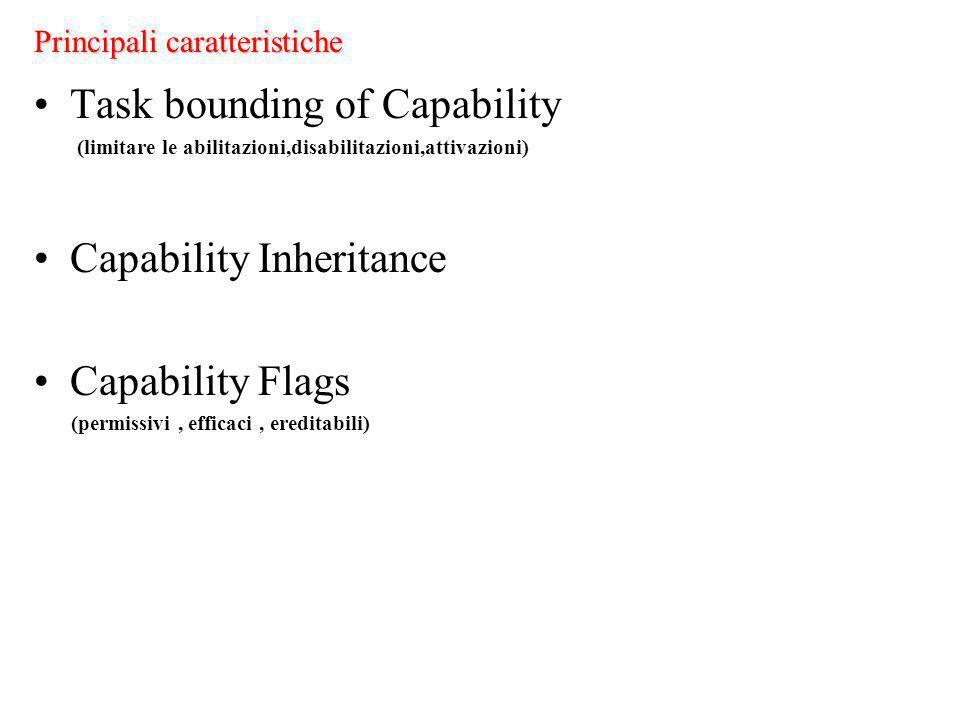 Principali caratteristiche Task bounding of Capability (limitare le abilitazioni,disabilitazioni,attivazioni) Capability Inheritance Capability Flags (permissivi, efficaci, ereditabili)