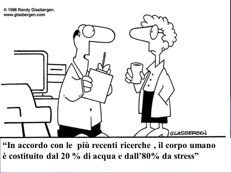 In accordo con le più recenti ricerche, il corpo umano è costituito dal 20 % di acqua e dall80% da stress