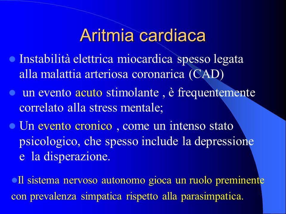 Aritmia cardiaca Instabilità elettrica miocardica spesso legata alla malattia arteriosa coronarica (CAD) un evento acuto stimolante, è frequentemente correlato alla stress mentale; Un evento cronico, come un intenso stato psicologico, che spesso include la depressione e la disperazione.