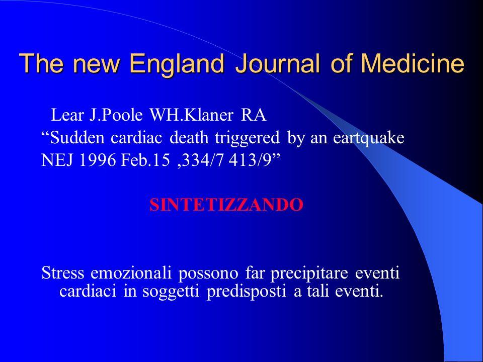The new England Journal of Medicine Lear J.Poole WH.Klaner RA Sudden cardiac death triggered by an eartquake NEJ 1996 Feb.15,334/7 413/9 SINTETIZZANDO Stress emozionali possono far precipitare eventi cardiaci in soggetti predisposti a tali eventi.