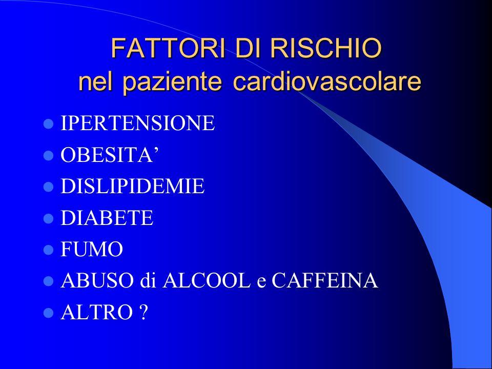 FATTORI DI RISCHIO nel paziente cardiovascolare IPERTENSIONE OBESITA DISLIPIDEMIE DIABETE FUMO ABUSO di ALCOOL e CAFFEINA ALTRO ?