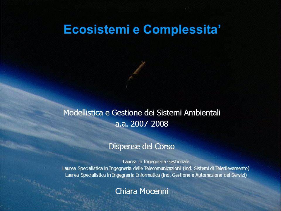 Modellistica e Gestione dei Sistemi Ambientali a.a.