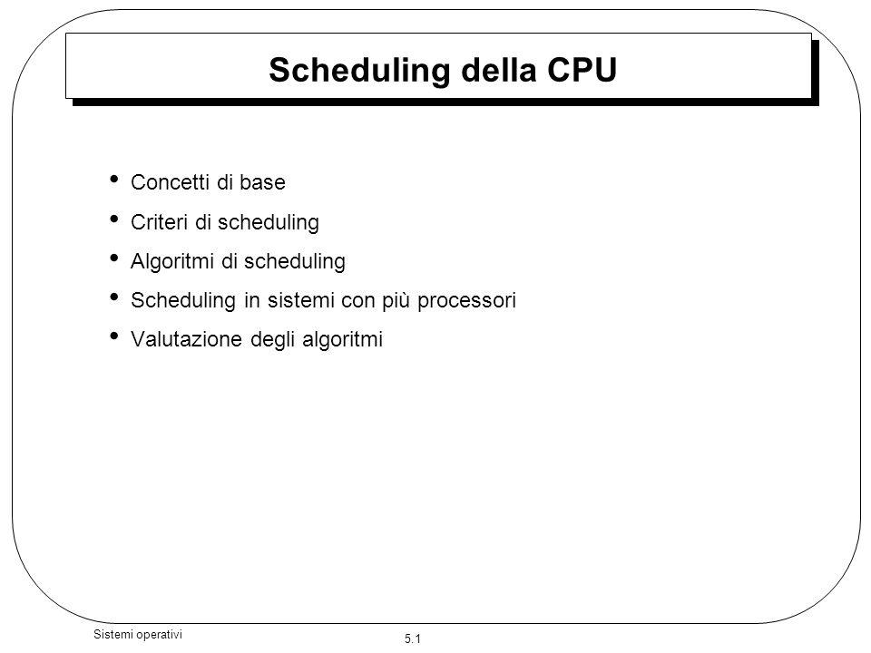 5.1 Sistemi operativi Scheduling della CPU Concetti di base Criteri di scheduling Algoritmi di scheduling Scheduling in sistemi con più processori Valutazione degli algoritmi