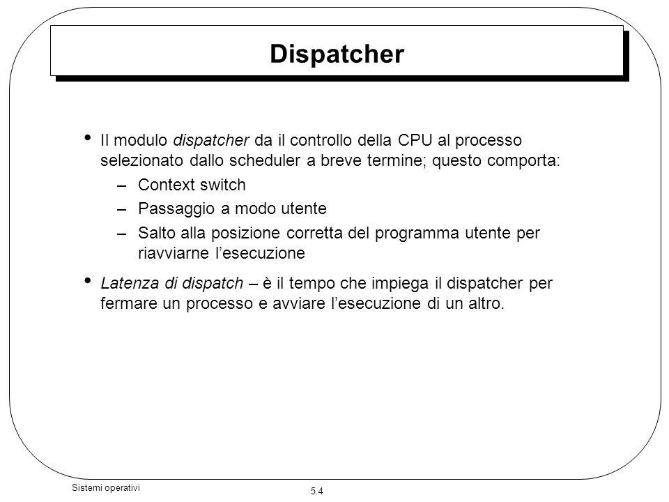 5.4 Sistemi operativi Dispatcher Il modulo dispatcher da il controllo della CPU al processo selezionato dallo scheduler a breve termine; questo compor