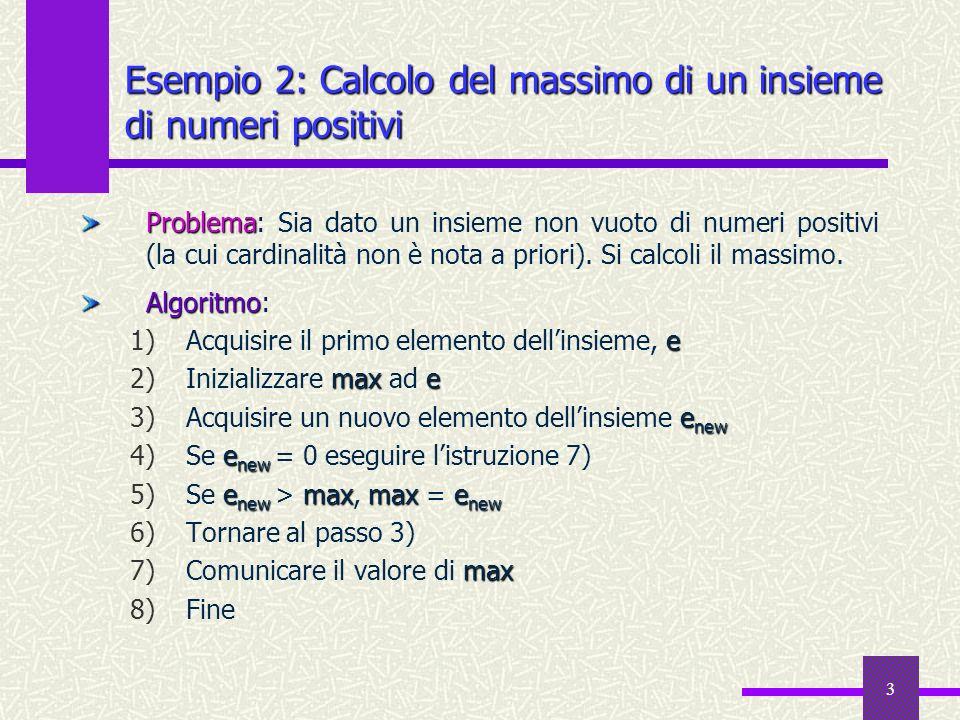 3 Esempio 2: Calcolo del massimo di un insieme di numeri positivi Problema Problema: Sia dato un insieme non vuoto di numeri positivi (la cui cardinal