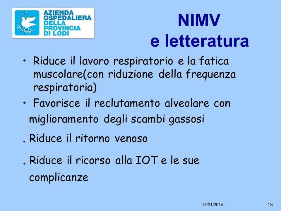 16/01/2014 18 NIMV e letteratura Riduce il lavoro respiratorio e la fatica muscolare(con riduzione della frequenza respiratoria) Favorisce il reclutamento alveolare con miglioramento degli scambi gassosi.