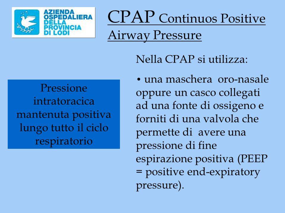 CPAP Continuos Positive Airway Pressure Pressione intratoracica mantenuta positiva lungo tutto il ciclo respiratorio Nella CPAP si utilizza: una maschera oro-nasale oppure un casco collegati ad una fonte di ossigeno e forniti di una valvola che permette di avere una pressione di fine espirazione positiva (PEEP = positive end-expiratory pressure).