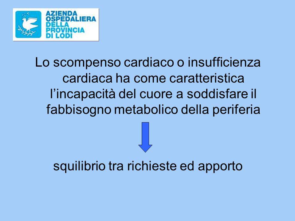 Lo scompenso cardiaco o insufficienza cardiaca ha come caratteristica lincapacità del cuore a soddisfare il fabbisogno metabolico della periferia squilibrio tra richieste ed apporto