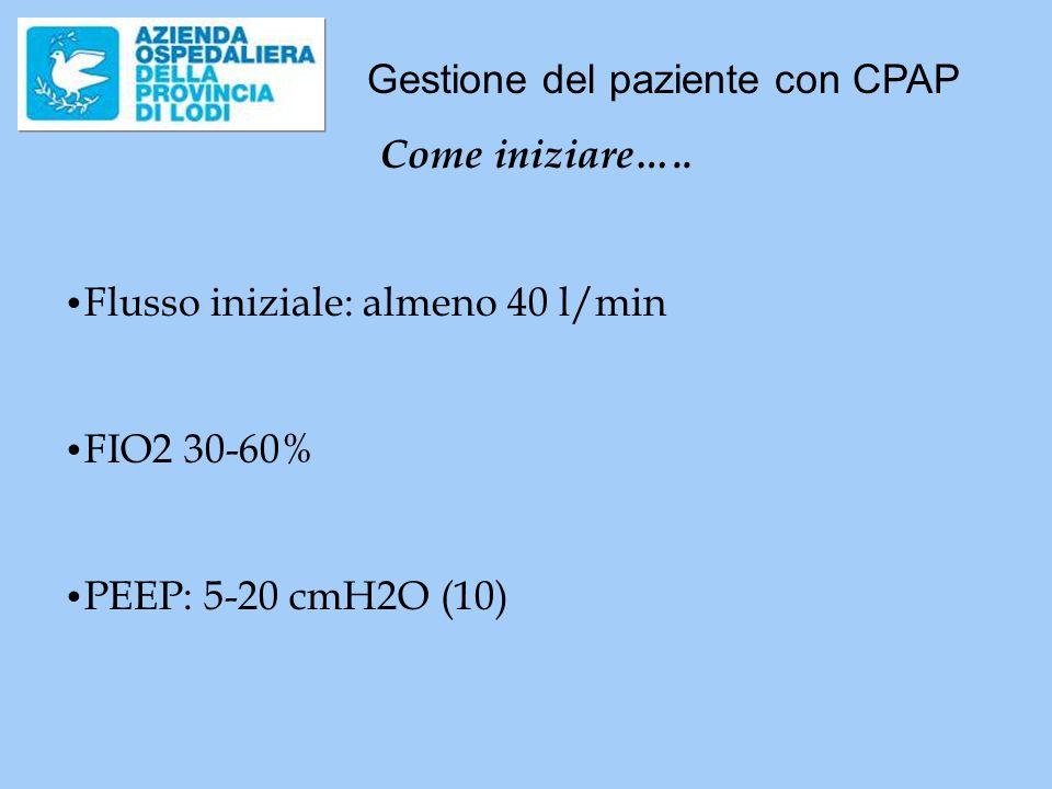 Gestione del paziente con CPAP Come iniziare….. Flusso iniziale: almeno 40 l/min FIO2 30-60% PEEP: 5-20 cmH2O (10)