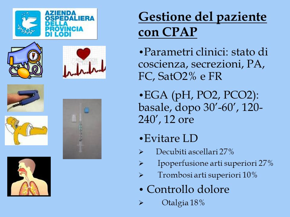 Gestione del paziente con CPAP Parametri clinici: stato di coscienza, secrezioni, PA, FC, SatO2% e FR EGA (pH, PO2, PCO2): basale, dopo 30-60, 120- 240, 12 ore Evitare LD Decubiti ascellari 27% Ipoperfusione arti superiori 27% Trombosi arti superiori 10% Controllo dolore Otalgia 18%