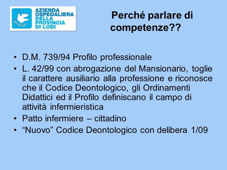 Perché parlare di competenze?.D.M. 739/94 Profilo professionale L.