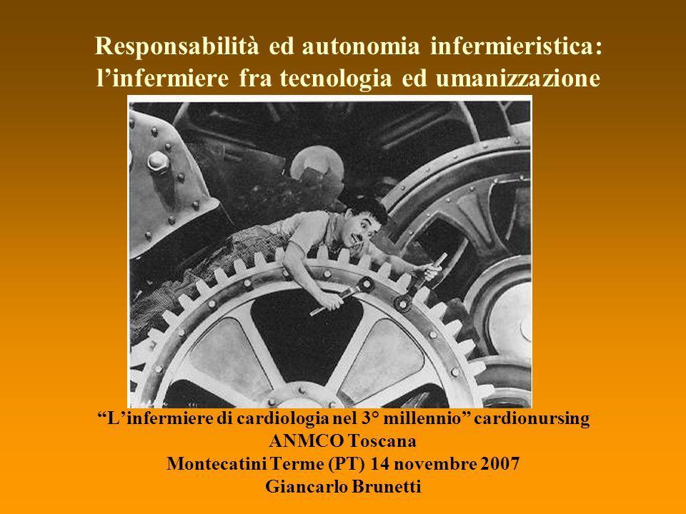 Linfermiere di cardiologia nel 3° millennio cardionursing ANMCO Toscana Montecatini Terme (PT) 14 novembre 2007 Giancarlo Brunetti Responsabilità ed a