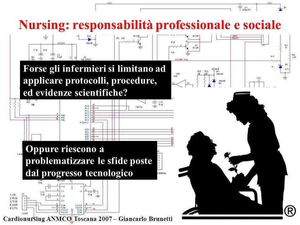 Nursing: responsabilità professionale e sociale Cardionursing ANMCO Toscana 2007 – Giancarlo Brunetti Oppure riescono a problematizzare le sfide poste