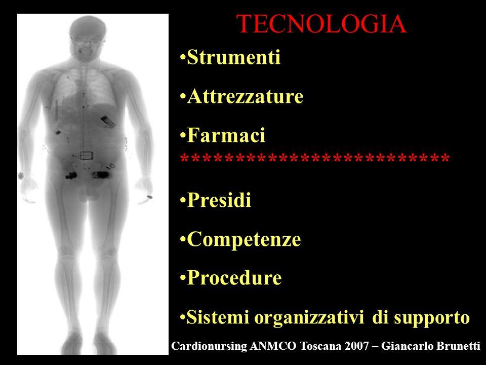 TECNOLOGIA Strumenti Attrezzature Farmaci ************************* Presidi Competenze Procedure Sistemi organizzativi di supporto Cardionursing ANMCO Toscana 2007 – Giancarlo Brunetti