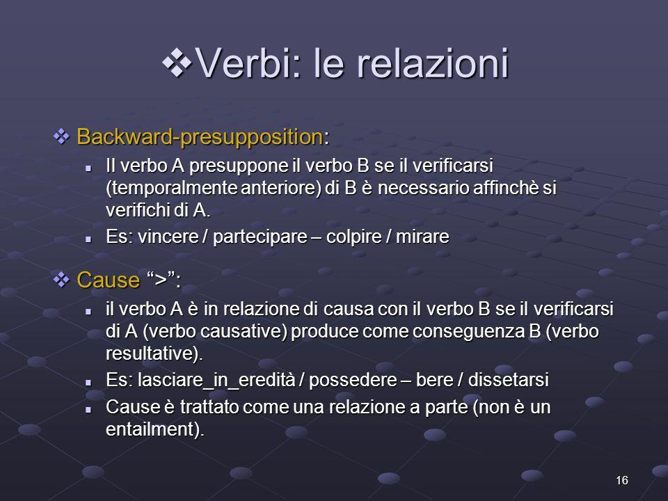 16 Verbi: le relazioni Verbi: le relazioni Backward-presupposition: Backward-presupposition: Il verbo A presuppone il verbo B se il verificarsi (tempo