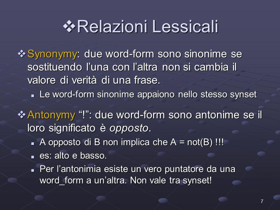 7 Relazioni Lessicali Relazioni Lessicali Synonymy: due word-form sono sinonime se sostituendo luna con laltra non si cambia il valore di verità di un