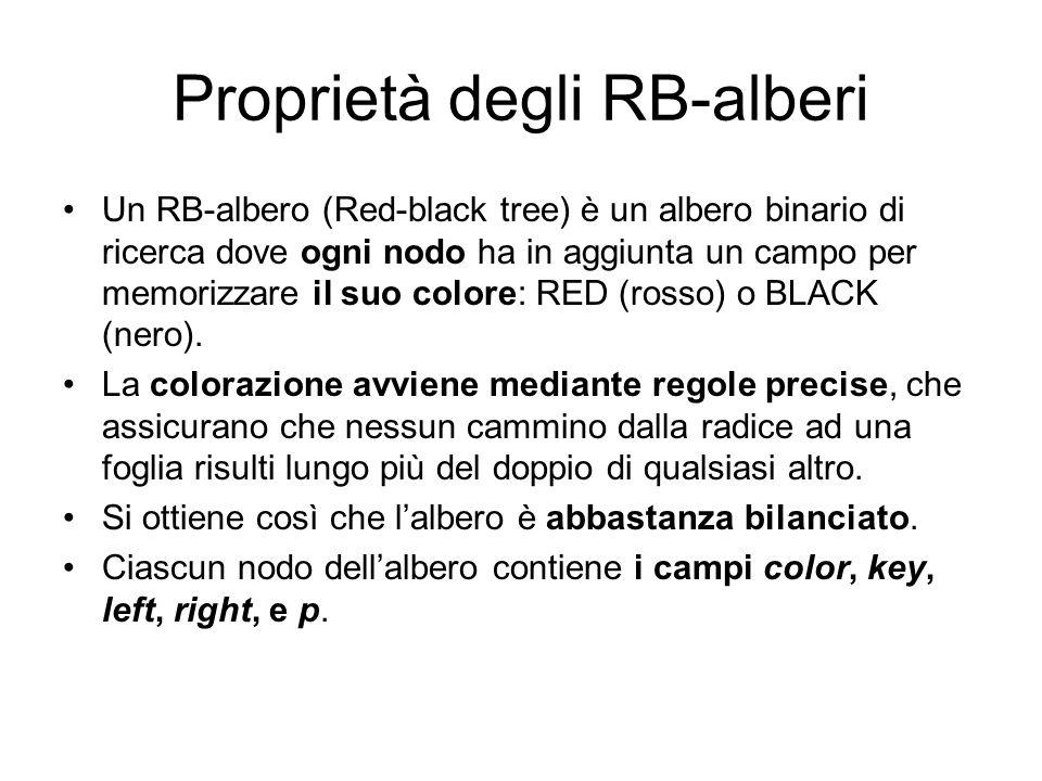 Proprietà degli RB-alberi Un RB-albero (Red-black tree) è un albero binario di ricerca dove ogni nodo ha in aggiunta un campo per memorizzare il suo c