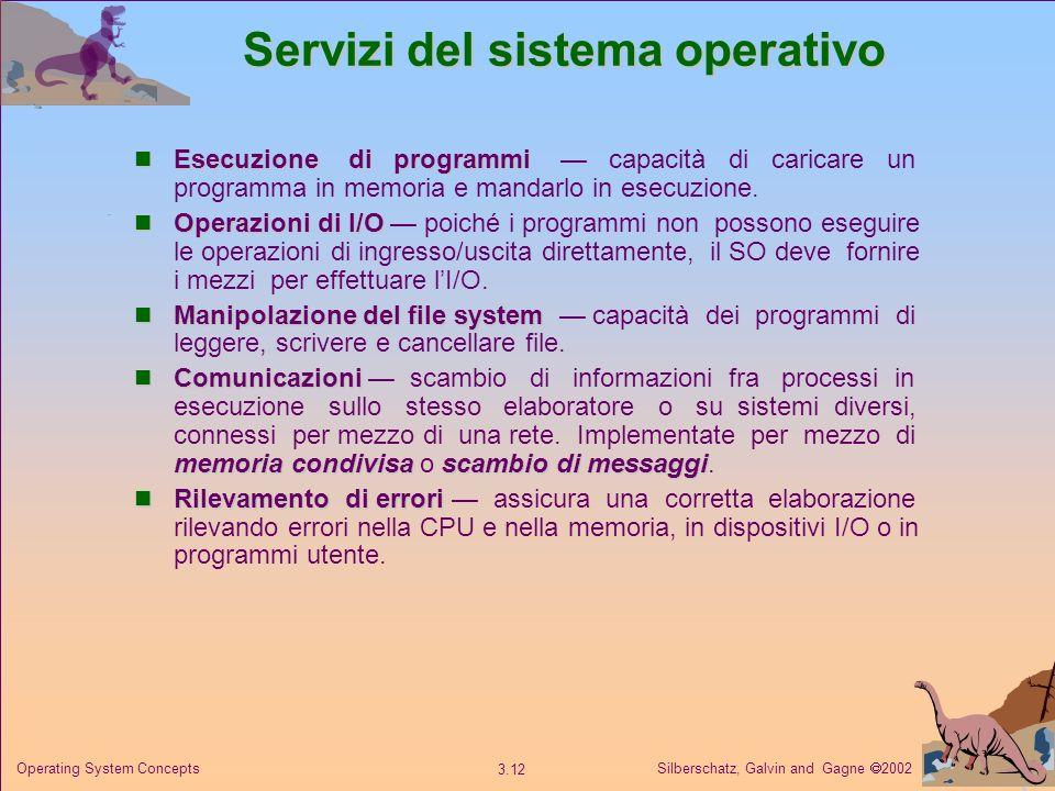 Silberschatz, Galvin and Gagne 2002 3.12 Operating System Concepts Servizi del sistema operativo Esecuzione di programmi Esecuzione di programmi capac