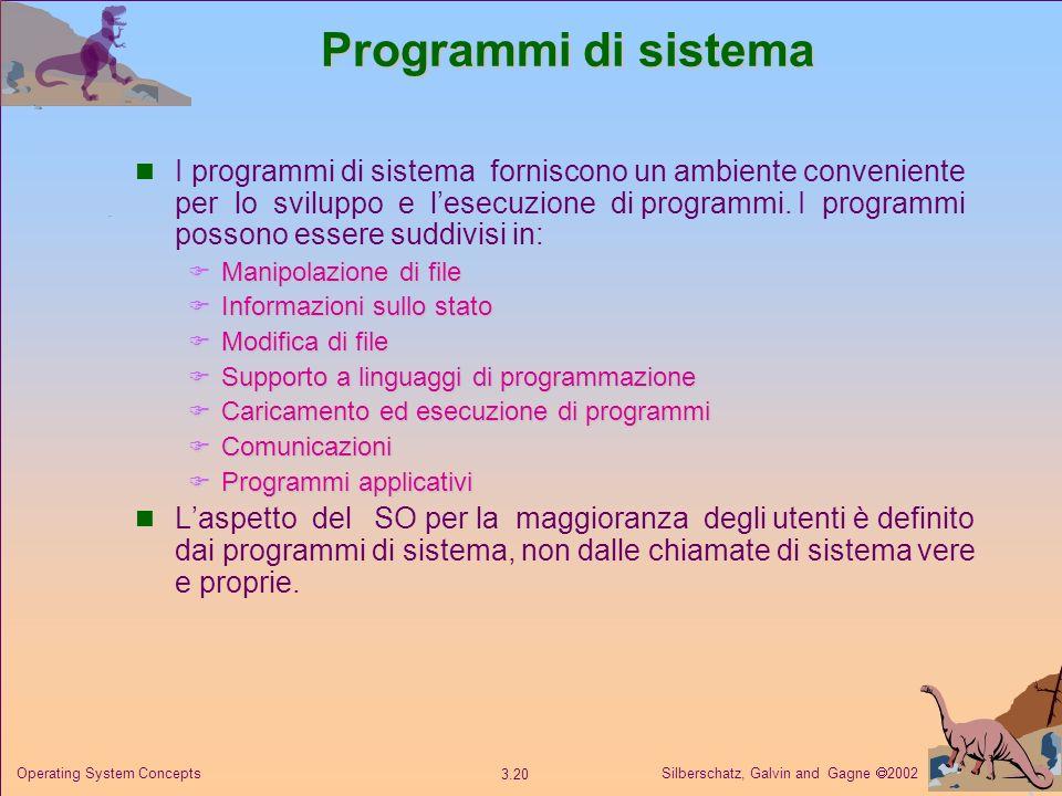 Silberschatz, Galvin and Gagne 2002 3.20 Operating System Concepts Programmi di sistema I programmi di sistema forniscono un ambiente conveniente per