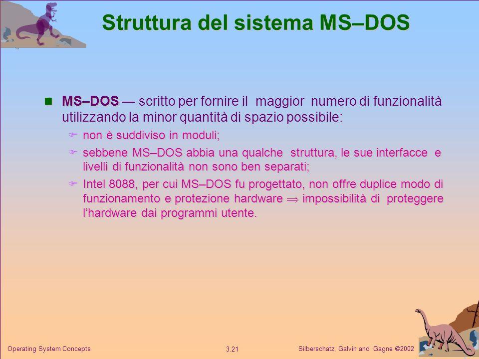 Silberschatz, Galvin and Gagne 2002 3.21 Operating System Concepts Struttura del sistema MS–DOS MS–DOS MS–DOS scritto per fornire il maggior numero di