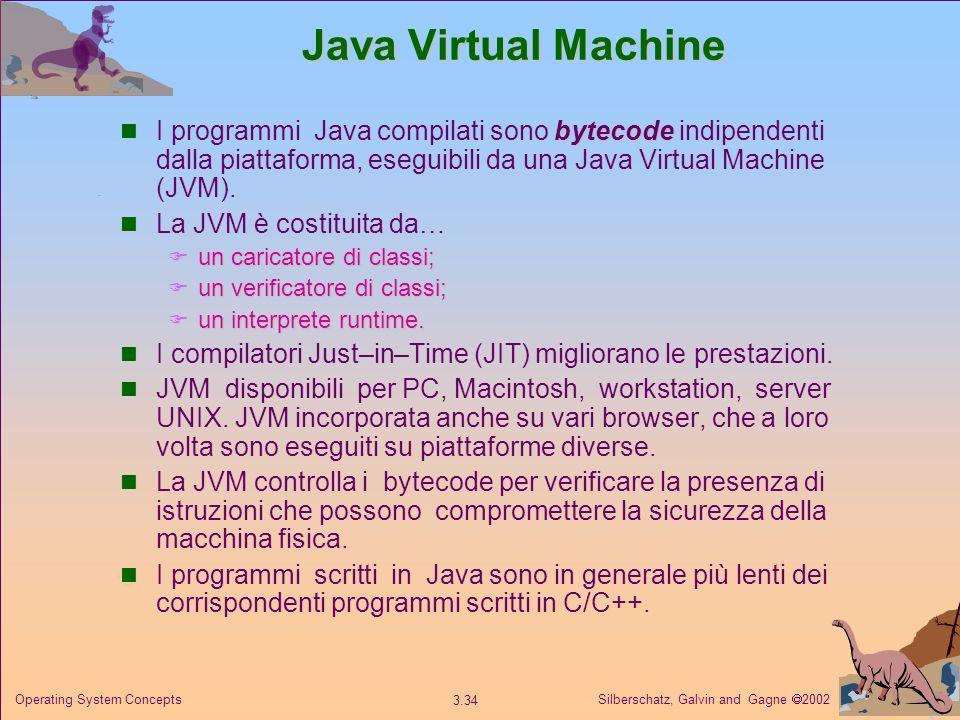 Silberschatz, Galvin and Gagne 2002 3.34 Operating System Concepts Java Virtual Machine bytecode I programmi Java compilati sono bytecode indipendenti