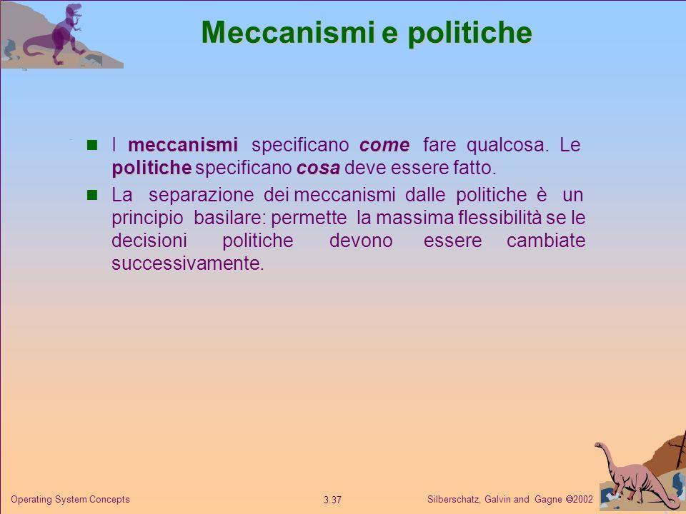 Silberschatz, Galvin and Gagne 2002 3.37 Operating System Concepts Meccanismi e politiche meccanismicome politichecosa I meccanismi specificano come f
