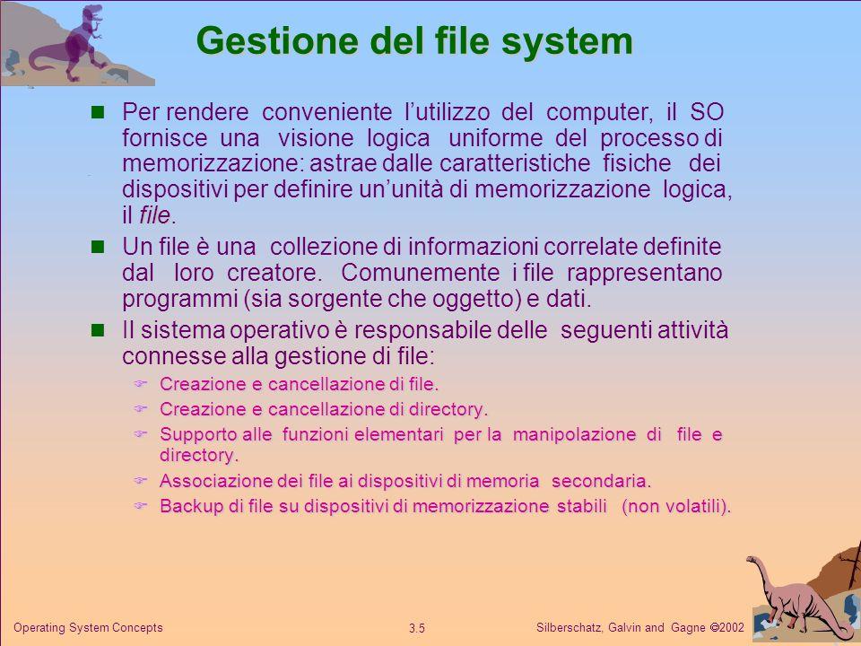 Silberschatz, Galvin and Gagne 2002 3.5 Operating System Concepts Gestione del file system file Per rendere conveniente lutilizzo del computer, il SO