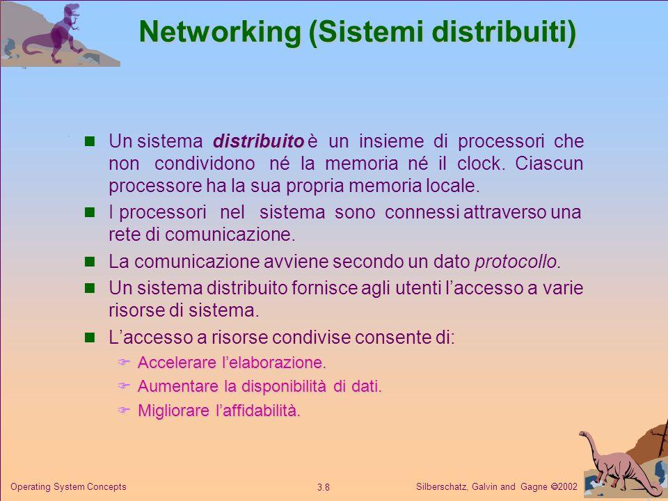 Silberschatz, Galvin and Gagne 2002 3.8 Operating System Concepts Networking (Sistemi distribuiti) distribuito Un sistema distribuito è un insieme di